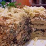 Торт слоеный с грибным кремом Закуски