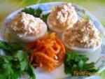 Яйца, фаршированные творогом Украинская кухня