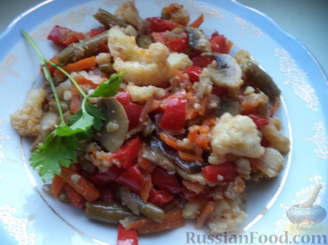 Жареные овощи с соевым соусом Японская кухня