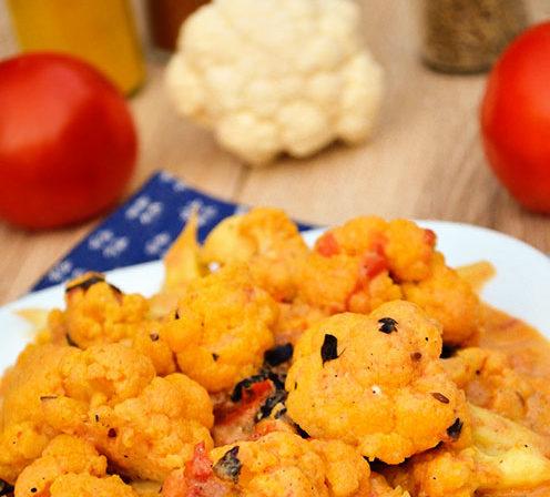 Цветная капуста с помидорами Вторые блюда Из капусты Из овощей
