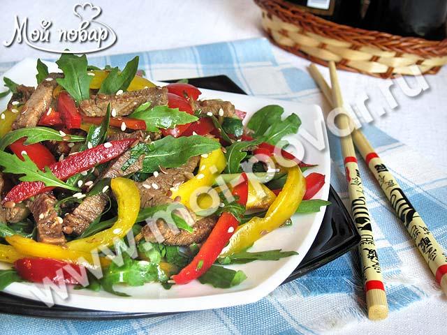 Салат из болгарского перца с кунжутным маслом