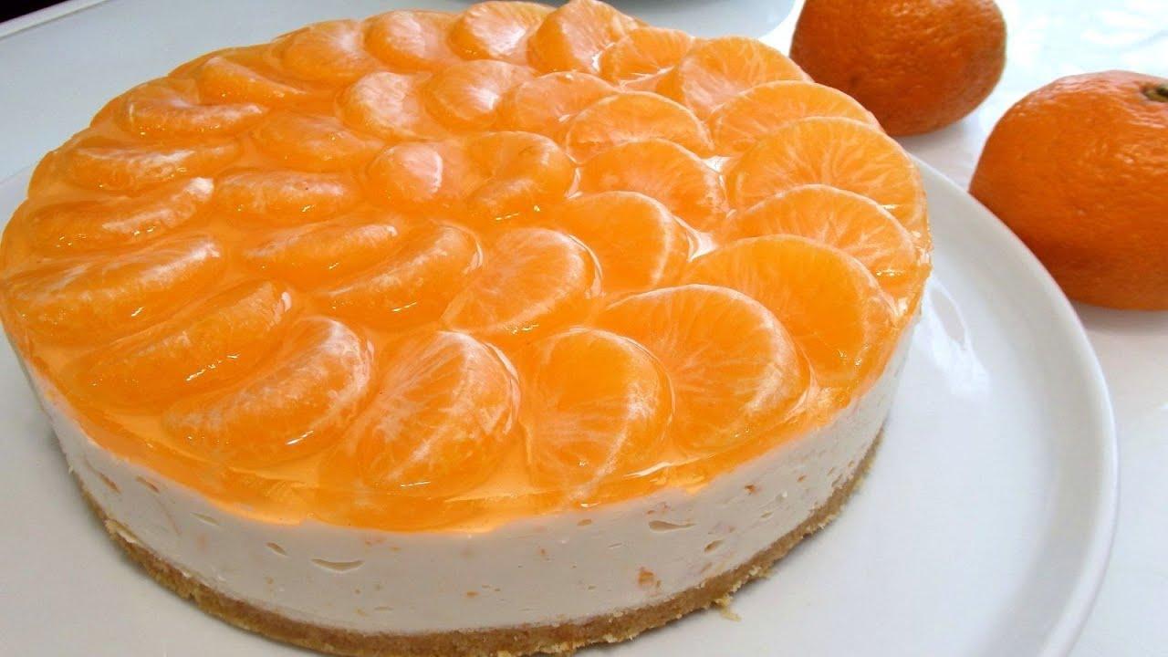 Творожный десерт с мандаринами и печеньем