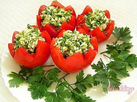 Фаршированные салатом помидоры