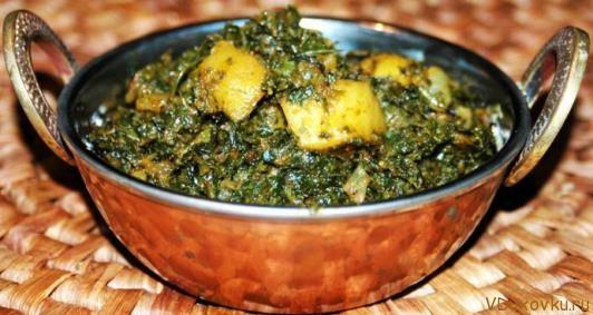 Картофельное сабджи со шпинатом