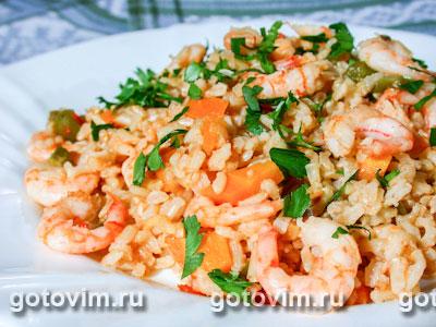 Пряные креветки с рисом