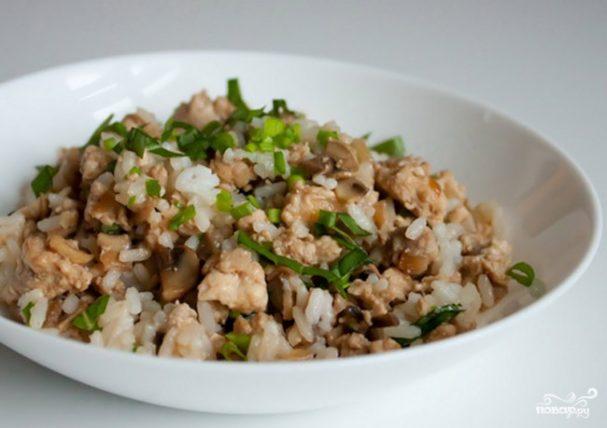 Рис с жареными вешенками