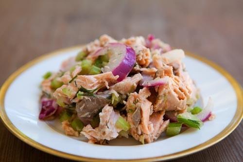 Салат из лосося и мидий