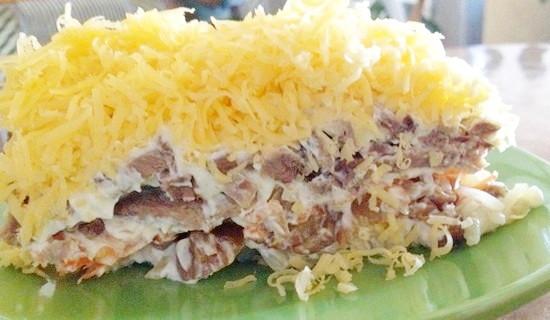 Салат из маринованного мяса курицы