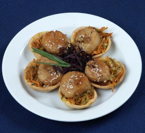 Салат из морского гребешка с грибами