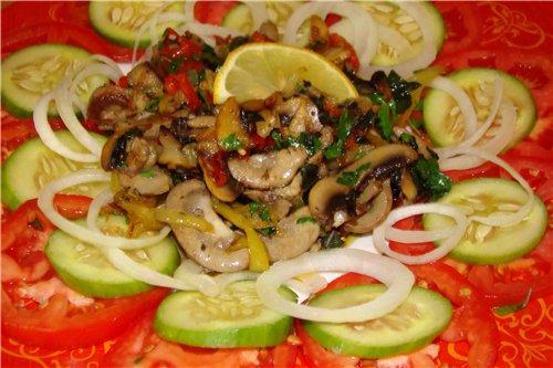 Салат из свиных почек с зеленью