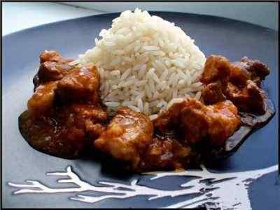 Шашлык из говядины с рисом