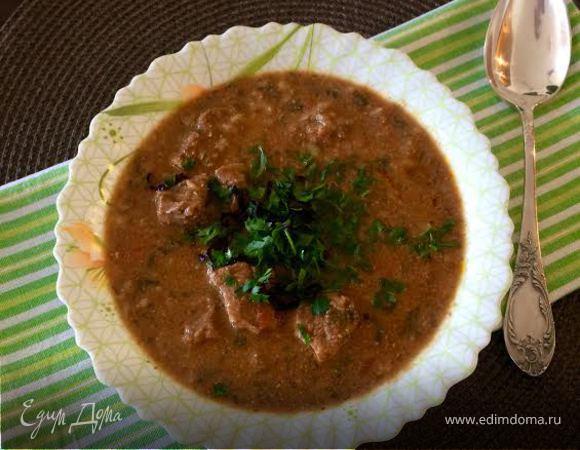 Суп из грецких орехов с луком