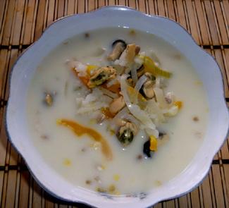 Суп из мидий с вином