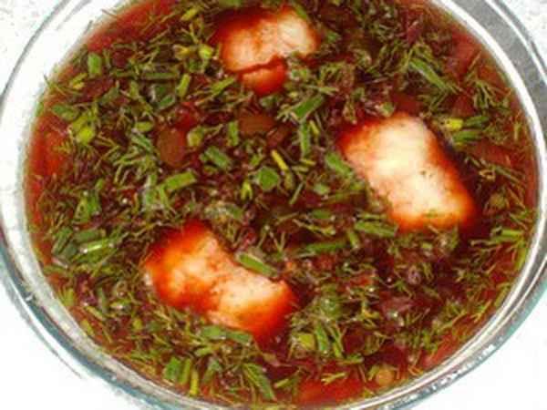 Суп из рыбы, овощей и кваса