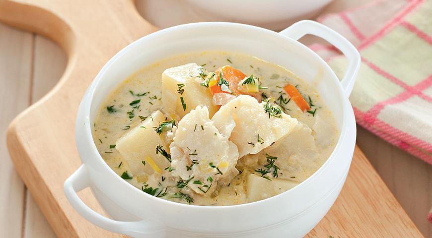 Суп из трески на молоке