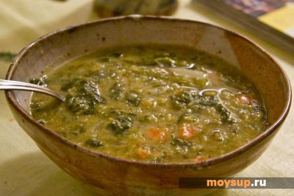 Суп из зеленой чечевицы с грибами