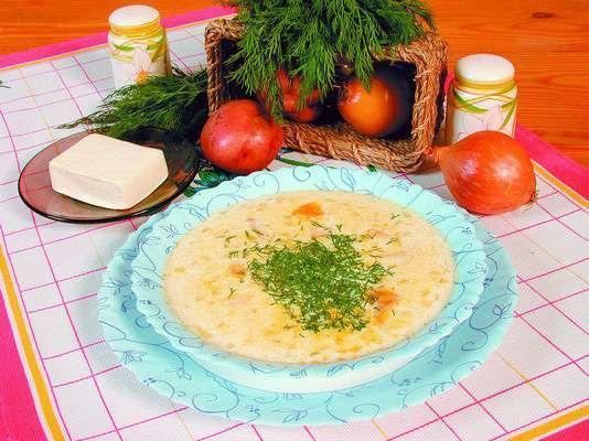 Суп с плавленым сыром и осетриной