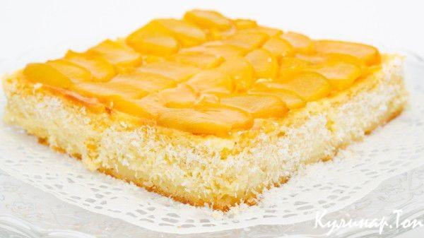 Торт с персиками и винным желе