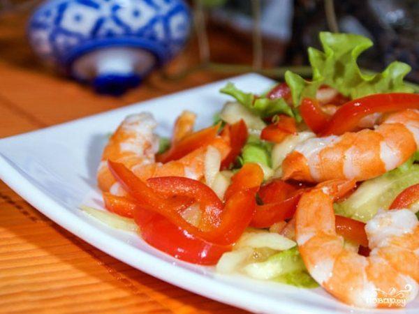 Жареные креветки с болгарским перцем