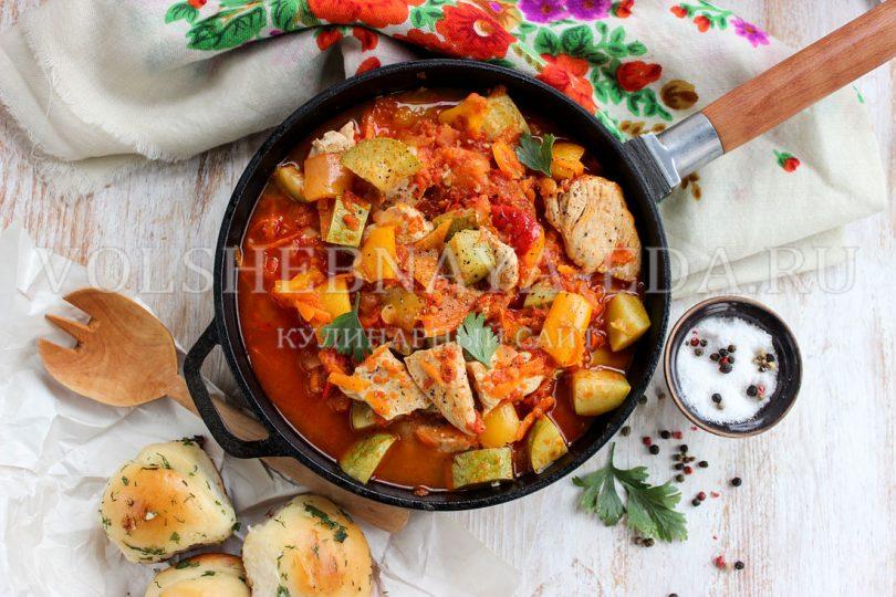 Овощная сковородка с курицей