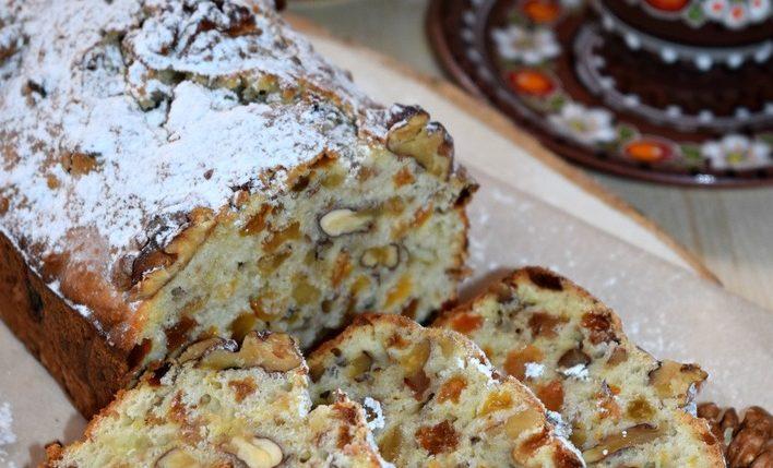 Сливочный кекс с орехами и изюмом