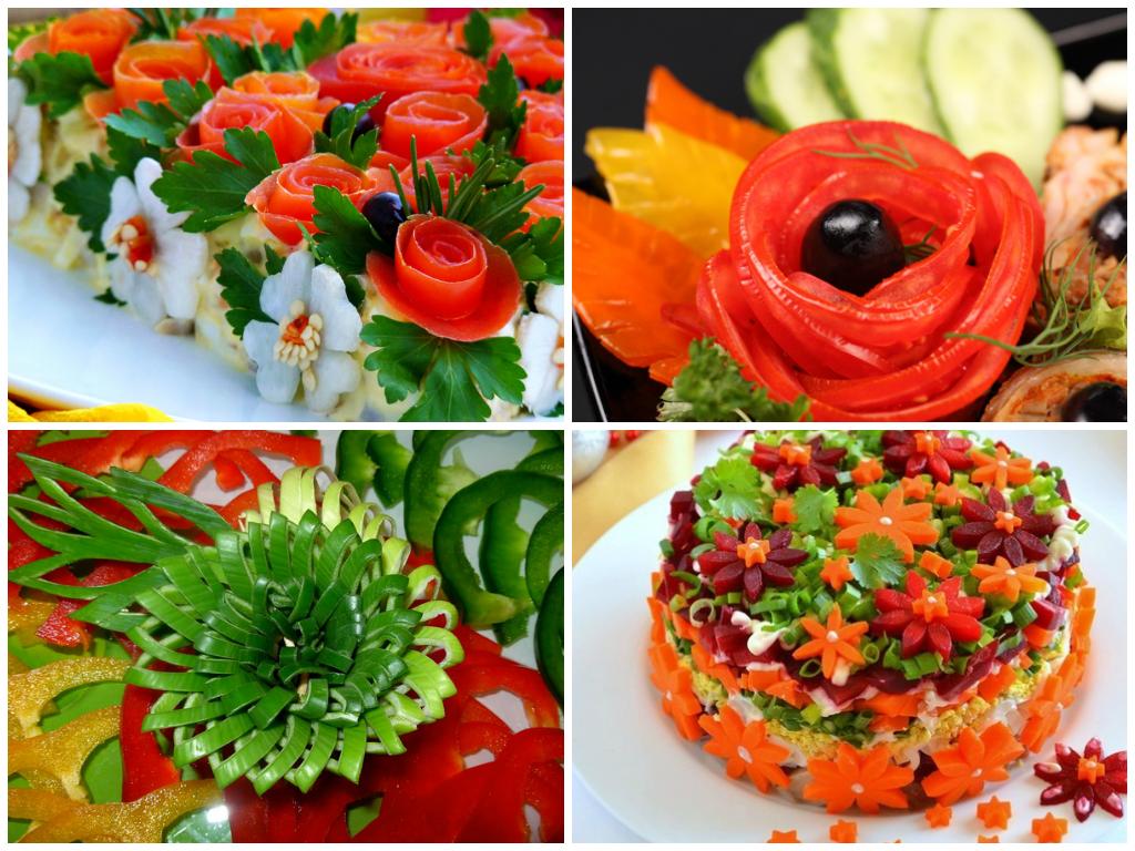 Украшение салата (пошагово, с фото) цветами из овощей